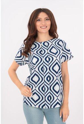 Bluza lejera alba cu romburi bleumarin-vernil