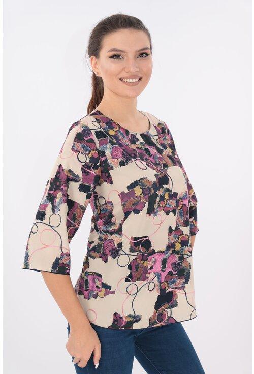 Bluza lejera bej cu desen abstract violet