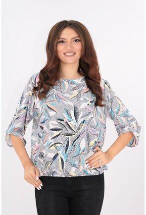Bluza lejera cu frunze muticolore