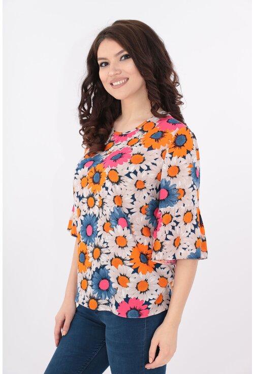 Bluza lejera cu print floral fucsia