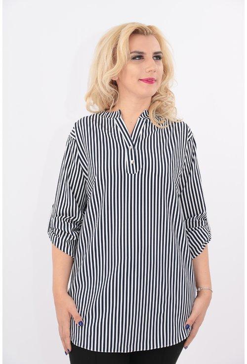 Bluza lunga alba cu dungi bleumarin