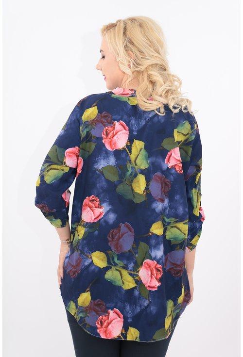 Bluza lunga albastra cu imprimeu floral