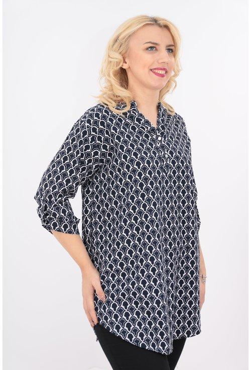 Bluza lunga cu imprimeu bleumarin