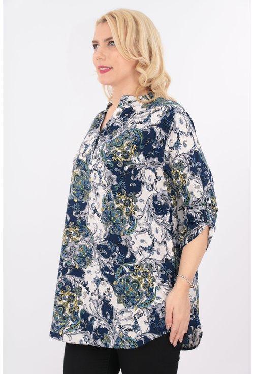 Bluza lunga cu print bleumarin