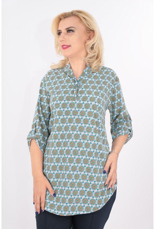 Bluza lunga cu print multicolor