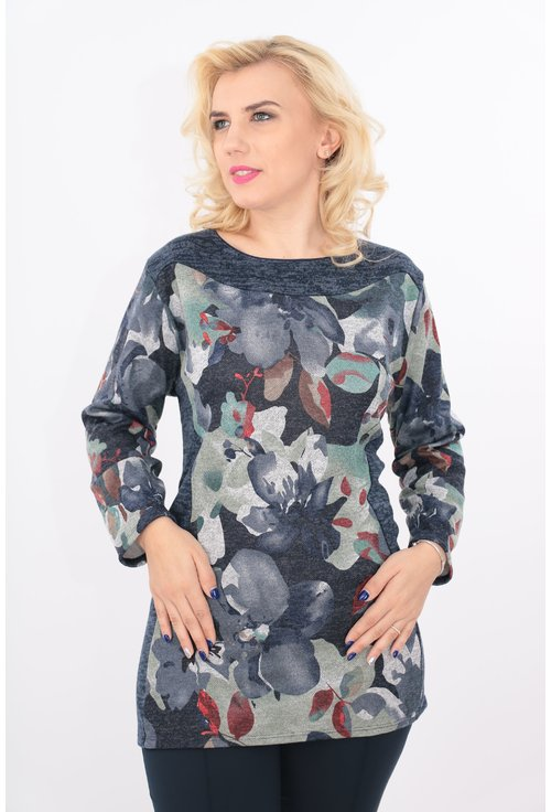 Bluza lunga gri cu print floral