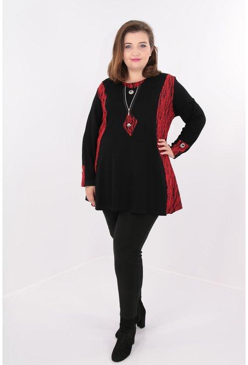 Bluza lunga negru cu rosu