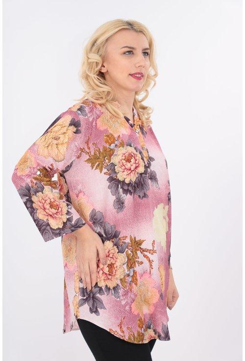 Bluza lunga roz cu print floral