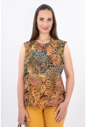 Bluza maro cu print geometric