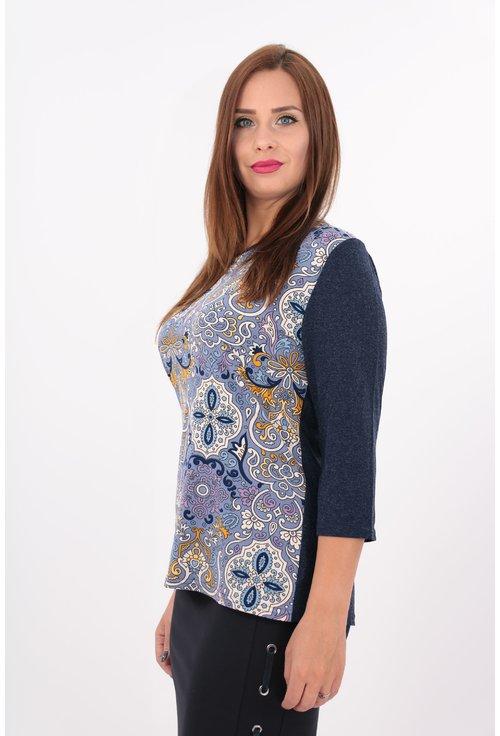 Bluza mov cu print floral multicolor