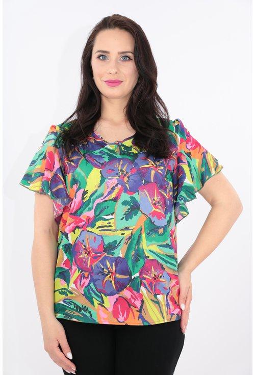 Bluza multicolora cu maneci scurte cu volane