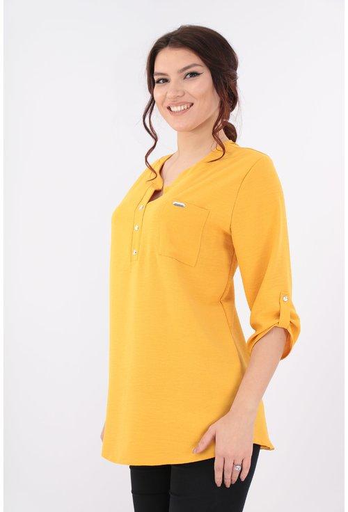 Bluza mustar cu guler tunica si buzunar