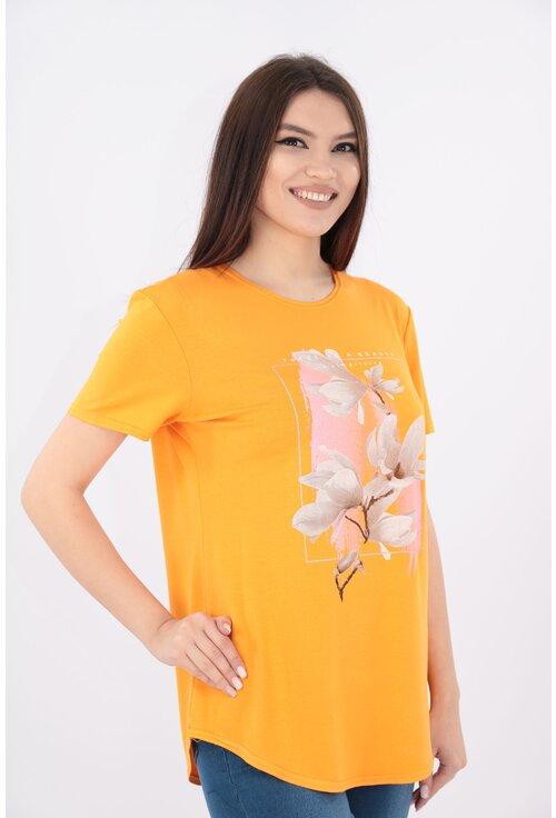Bluza mustar cu print floral crem