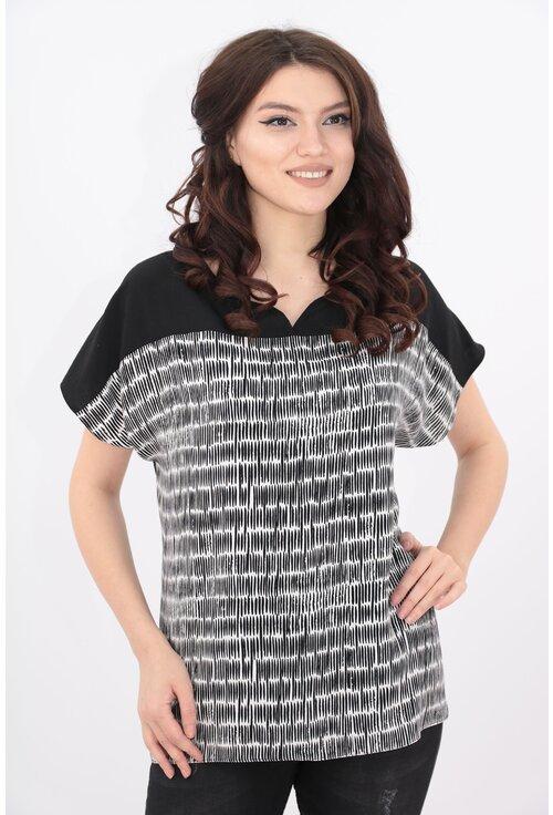 Bluza neagra cu desen alb geometric