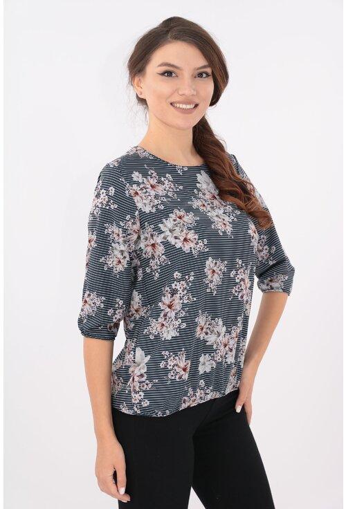 Bluza neagra cu dungi fine si flori roz pal
