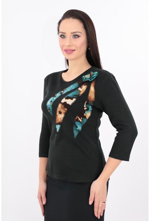Bluza neagra cu flori turcoaz