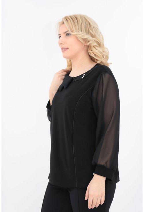 Bluza neagra cu guler asimetric