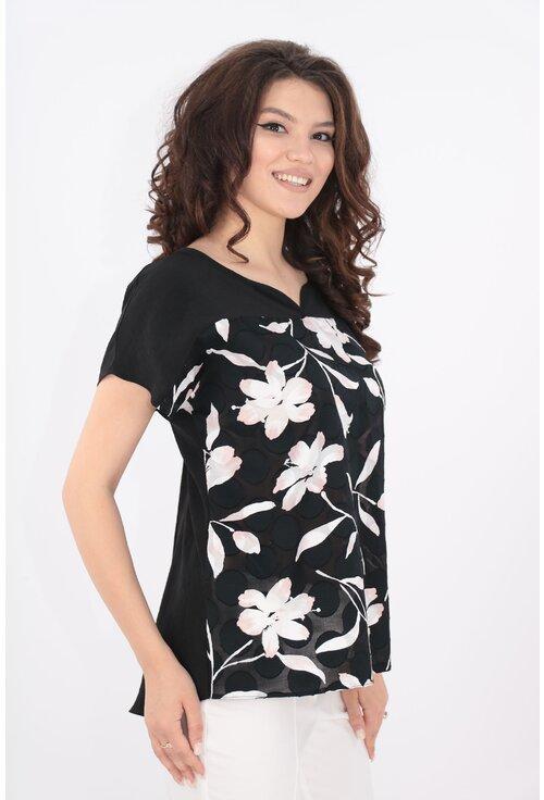 Bluza neagra cu imprimeu floral roz-maxi