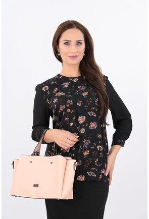 Bluza neagra cu print floral caramiziu