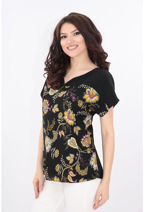 Bluza neagra cu print floral multicolor