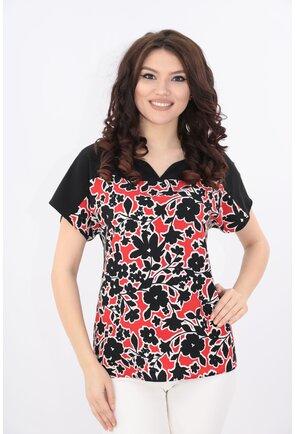 Bluza neagra cu print floral rosu