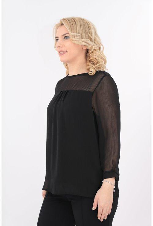 Bluza neagra din voal creponat