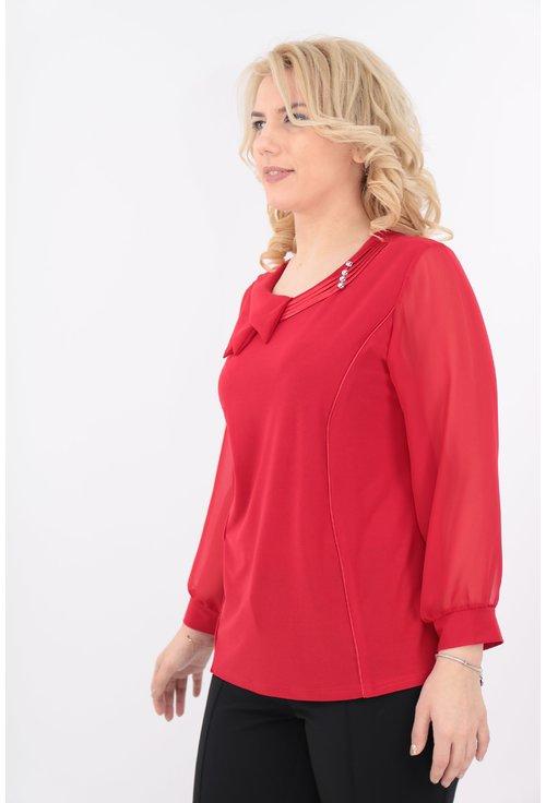 Bluza rosie cu guler asimetric