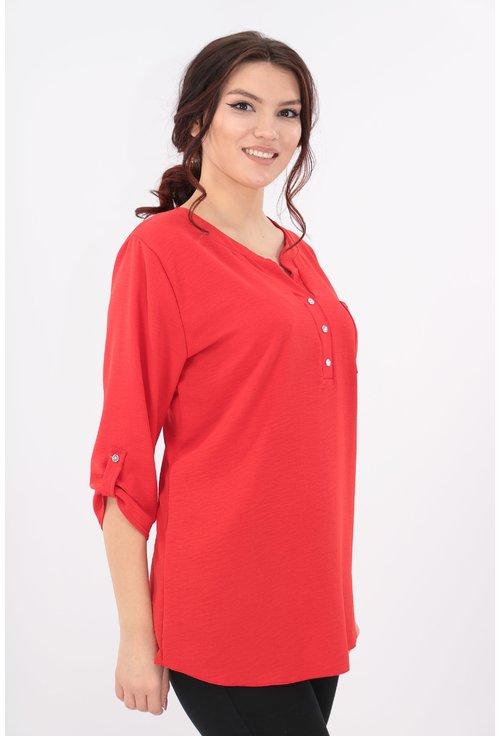 Bluza rosie cu guler tunica si buzunar