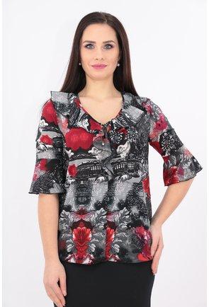 Bluza rosie cu imprimeu rosu si volane