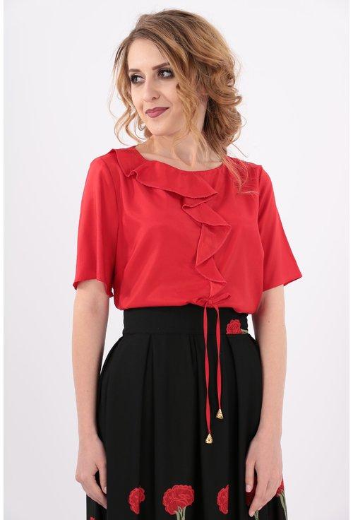 Bluza rosie cu maneca scurta