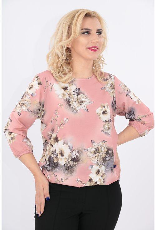 Bluza roz cu flori crem