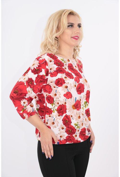 Bluza roz cu flori rosii