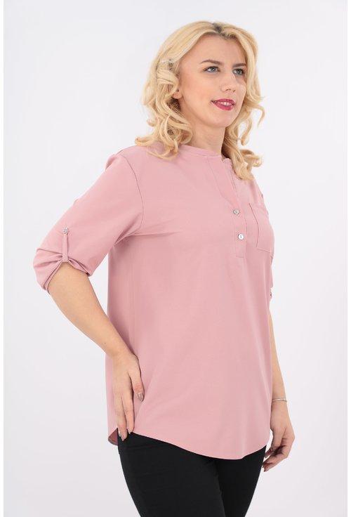 Bluza roz cu guler tunica