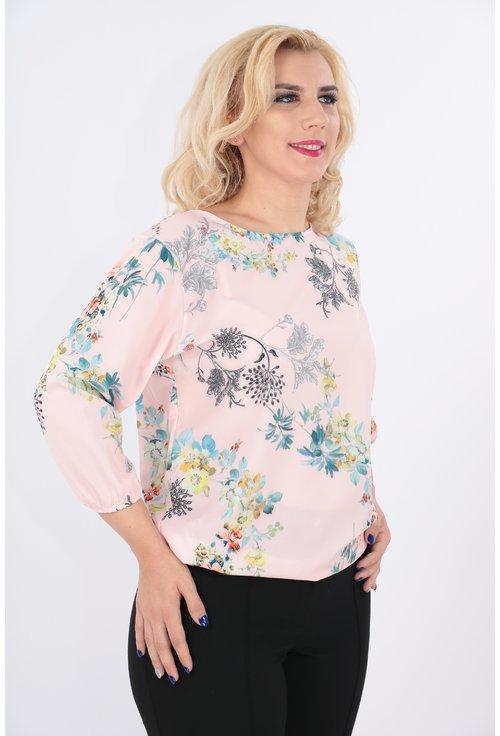 Bluza roz deschis cu imprimeu floral