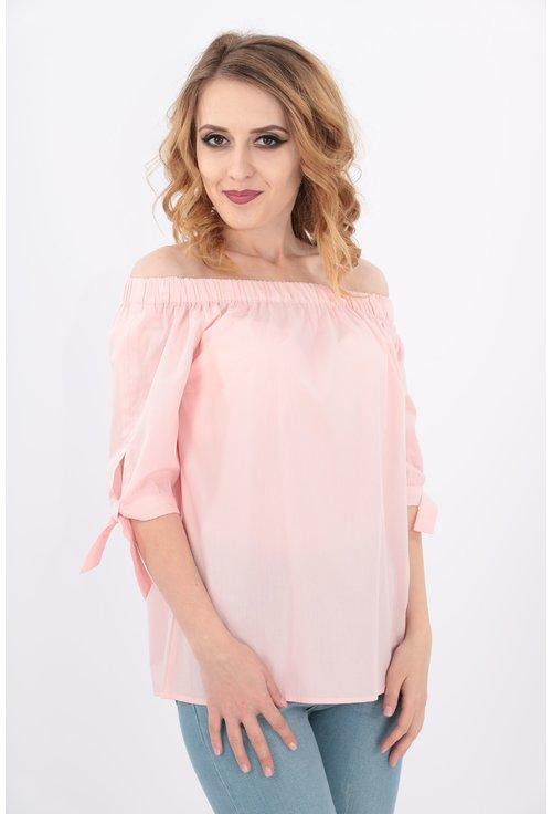 Bluza roz din bumbac cu umerii goi