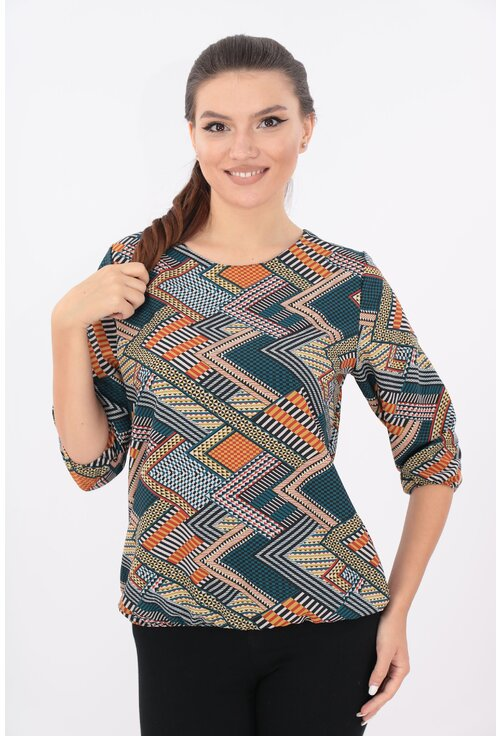 Bluza turcoaz cu desen geometric multicolor