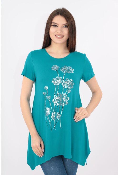 Bluza turcoaz cu print floral argintiu
