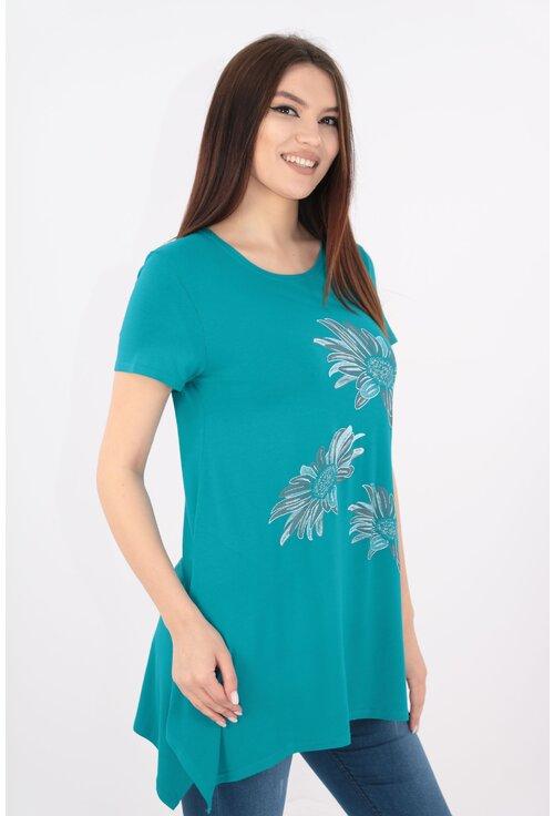 Bluza turcoaz cu print floral bleu