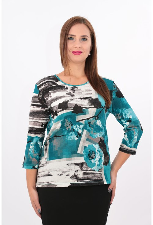 Bluza turcoaz cu print floral