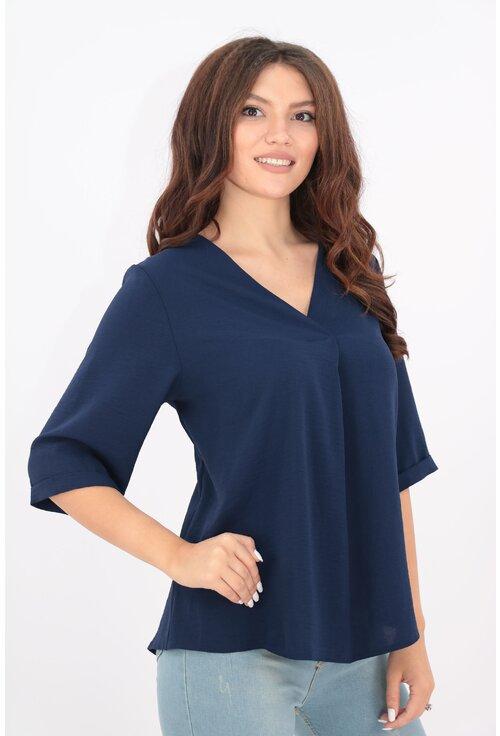 Bluza uni bleumarin din vascoza