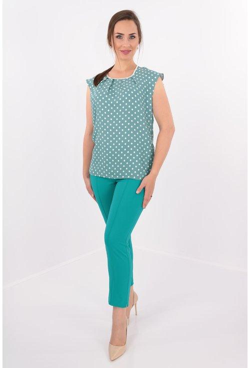Bluza verde cu buline albe