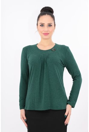 Bluza verde din tricot cu pliuri