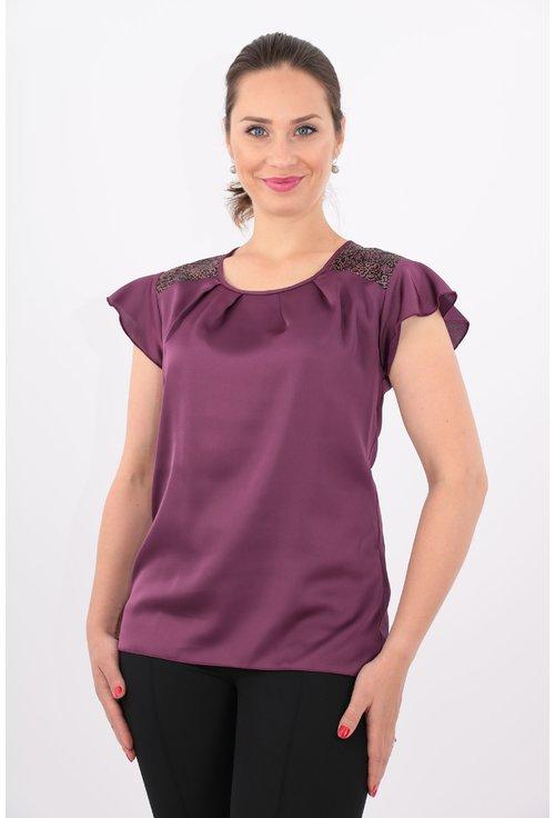 Bluza violet din voal satinat