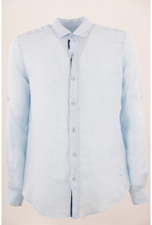 Camasa bleu cu rejansa tricolora