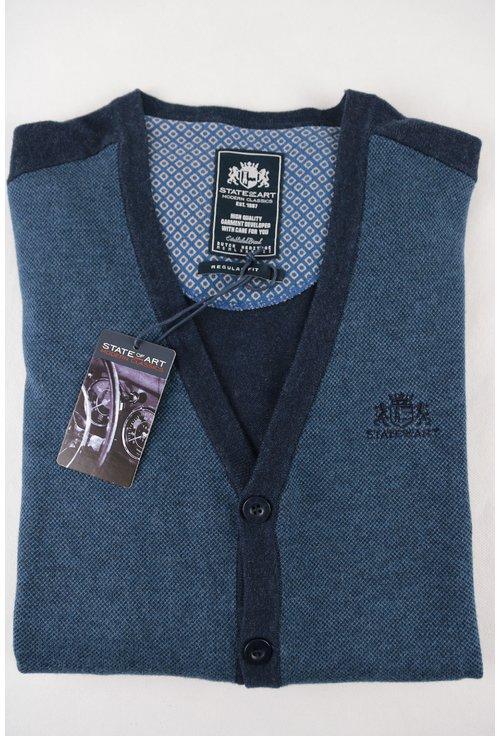 Cardigan albastru cu bleumarin