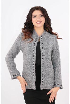 Cardigan din lana gri cu garnitura alb-negru