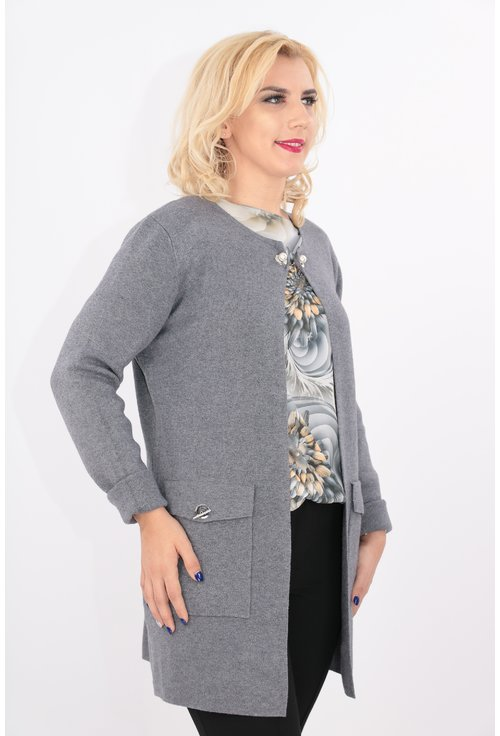 Cardigan gri lung tricotat