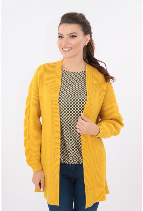 Cardigan lung mustar tricotat spic