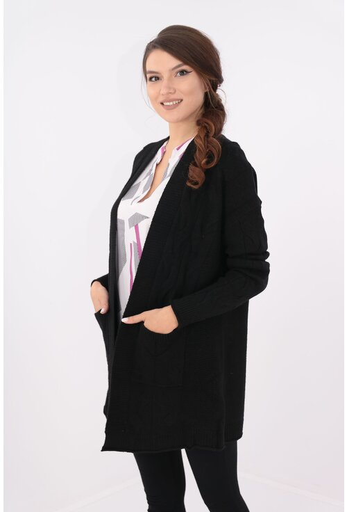Cardigan negru lung cu buzunare
