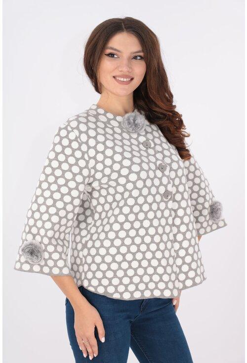 Cardigan tricotat gri cu buline albe
